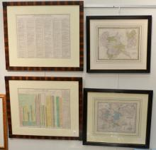Four framed map lithographs including a Joseph H. Colton Germany hand colored map engraving From Colton's Atlas of the World publish..