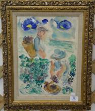 E. Wayne Ensrud (American) Grape Pickers, watercolor on paper, signed bottom center 'W. Ensrud', Virginia Lynch Gallery R.I. label o.