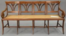 Caned seat bench. wd. 66