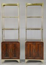Pair of mahogany and brass étagères with glass shelves, Labarge. ht. 72 1/2
