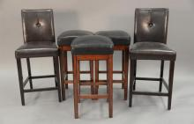 Five leather bar stools, two with backs, ht. 30