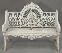 Victorian iron outdoor bench, circa 1880, lg. 48