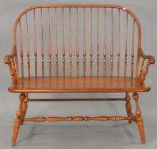 Hitchcock custom maple Windsor style arm bench, lg. 42