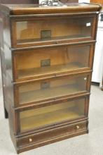 Oak Barrister five section bookcase, ht. 56