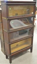 Mahogany Barrister four section bookcase, ht. 65
