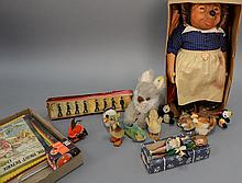 Group lot to include two ducks, two fish, swinny, large rabbit Perri, two miniature panda bears, Britain Lead Soldiers in a box, boo...