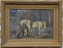 After Edwin Henry Landseer (1802-1873), 19th century portrait of horse with a dog, oil on canvas under glass, unsigned. 14