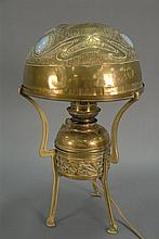 Kosmos brass oil lamp with jeweled and brass shade, ht. 17in.