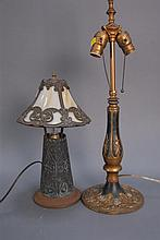 Two piece lot, small panel lamp ht. 15in. and lamp base, ht. 24 1/2in.