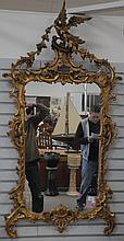 Large Chippendale mirror with pierce carved wood frame, 60