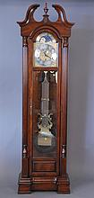 Sligh cherry tall clock with brass weights, ht. 84in.