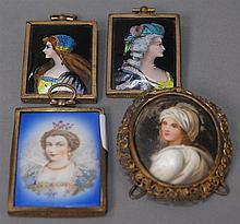 Group of four miniatures to include two enameled portraits in brass frames and two paintings on porcelain, all approximately 2 1/2