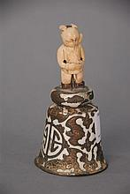 Chinese ivory and enameled bat bell with carved ivory figure of a boy, ht. 5in.