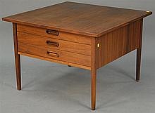 Danish Modern three drawer stand with channeled drawer glides (stain). ht. 21in.; top: 30