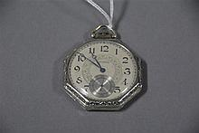 Waltham octagon shaped 14K gold open face pocket watch, 58 total grams.