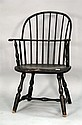 Windsor knuckle armchair with bow back, saddle seat, and bold turned legs. seat ht. 16 1/2in.
