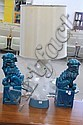 Three piece lot; pair of pottery foo-dogs and alabaster table lamp.