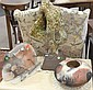 Six piece lot; pair of reticulated garden seats (as is), modern sculpture, and three contemporary vases.