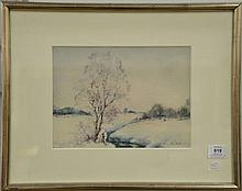 Walter Launt Palmer (1854-1932)  Winter Stream with Tree  watercolor  signed lower right: W