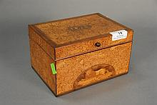 Burlwood tea box, inlaid IWvU 18B30, ht. 4 1/2 in.; lg. 7 1/4 in.; wd. 5 1/2 in.