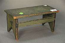 Primitive stool with original paint, signed on bottom, ht. 5 in.; lg. 10 1/2 in.