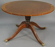 Custom mahogany round pedestal table, ht. 30in.; dia. 48in.