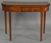 Mahogany Hepplewhite inlaid game table, lg. 36 in.; ht. 28 in.