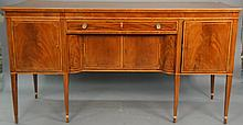 Federal mahogany sideboard having one central drawer over two doors flanked by two doors, set on square tapered legs with line inlay...