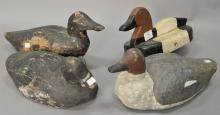 Group of four vintage duck decoys, one marked E.B., lg. 12