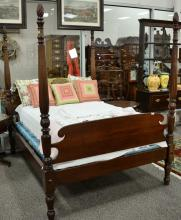 Federal style tall four post double bed. ht. 77