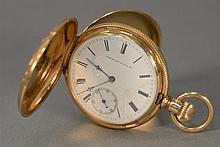 14K gold closed face pocket watch, American Waltham Riverside.