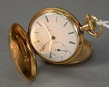 14K Bequelin Houriet Tramelan closed face pocket watch signed on cover and works.