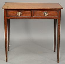 Federal two drawer table, circa 1800. ht. 28 in.; wd. 30 in.; dp. 17 1/2 in.