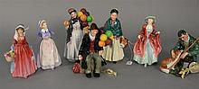 Seven Royal Doulton figures. ht. 7 in. to 9 in.