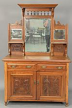 Continental Victorian sideboard with mirror back. ht. 72 in.; wd. 49 in.; dp. 17 in.