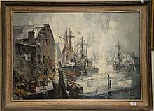 John Cuthbert Hare (1908-1978) oil on canvas Early Morning Docks, signed lower right John Hare, 25