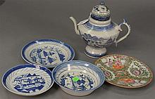 Group lot Canton and Rose Medallion plates including 1 Canton teapot, 3 Canton plates, and 6 Rose Medallion.