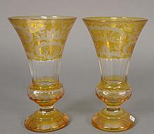 Pair of Amber Bohemian vases.  ht. 9 1/2 in.