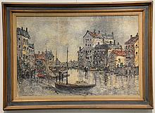 Oil on canvas city canal signed lower right Jan. V. Dom...?, 24