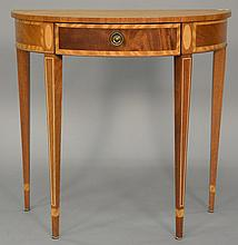 Federal style half round table with drawer. ht. 29 in.