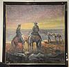 Jose Campuzano (1918-1979) oil on canvas of cowboys signed Campuzano, 36