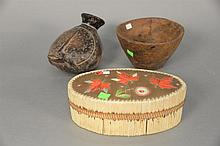 Three piece lot to include Woodlands Indian Burl bowl, bark quill decorated oval covered box, and Frog Effigy pot/bottle.