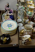 Four box lots with a set of 12 Minton plates, Weller urn, two pairs of vases (as is), Royal Worcester elephant (tusk broke), vase, l...