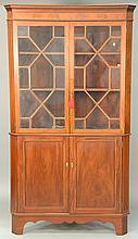 Mahogany Federal style inlaid corner china cabinet, late 19th to early 20th century. ht. 83 in.; wd. 44 in.; dp. 23 in.