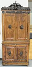 Carved Victorian two part cabinet, probably English 19th century. ht. 81 in.; wd. 35 in.; dp. 16 in.