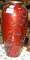 Ota Jinnoei signed mythological peacock red enameled vase on stand, small ding.