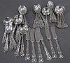 Several partial sets of silver teaspoons, soup spoons, and butter knives, 23.6 t oz.