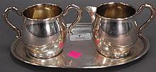 Sterling creamer, sugar, and tray, 10.4 t oz.