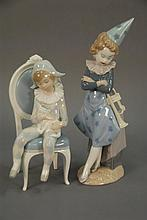 Two Lladros figures to include a clown with trumpet retired figure #5060