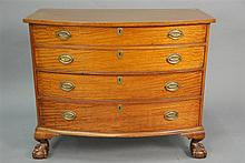 Chippendale style mahogany chest with bowed front and ball and claw feet, wd. 40